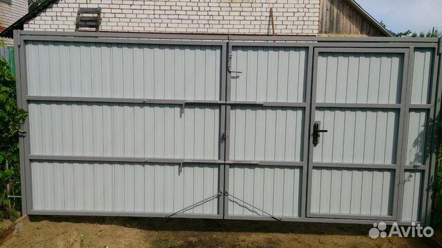 Ворота распашные из профнастила с внутренней калиткой откатные ворота в виннице фото цена