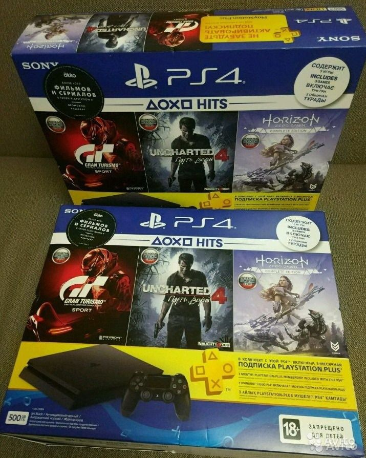 PS 4 slim + 3 мес PS plus Uncharted, GOW 3, GTS