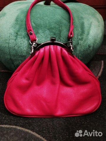 Кожаная сумка цвета фуксии с одним отделом 921129