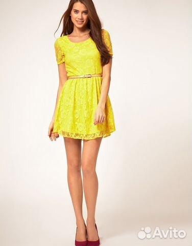 Купить желтое кружевное платье