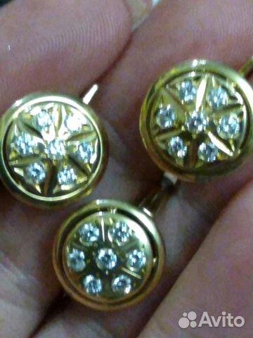 Редкий комплект с бриллиантами СССР 750 проба— фотография №1 3f16bc547cb