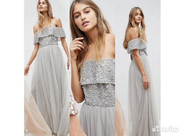 714304cac31 Вечернее серое платье со спущенными плечами купить в Москве на Avito ...