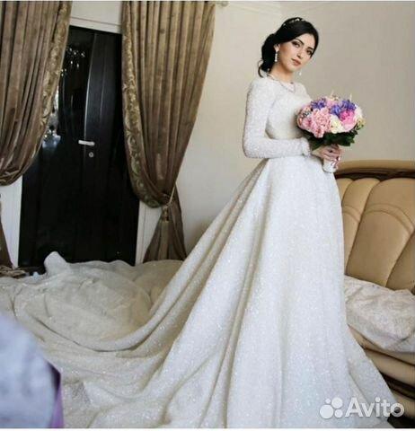 0d60a544849 Мерцающее свадебное платье усыпанное бисером и пай купить в Москве ...