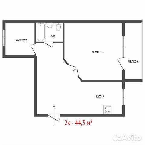 2-к квартира, 44.3 м², 5/5 эт.