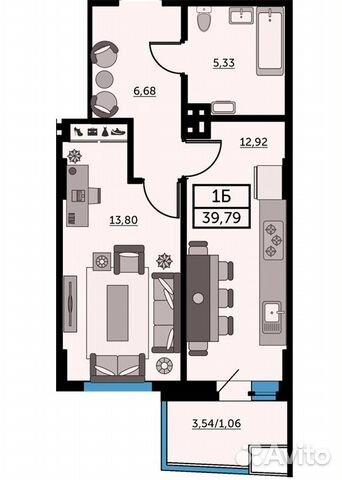 1-к квартира, 39.7 м², 11/26 эт. купить 1