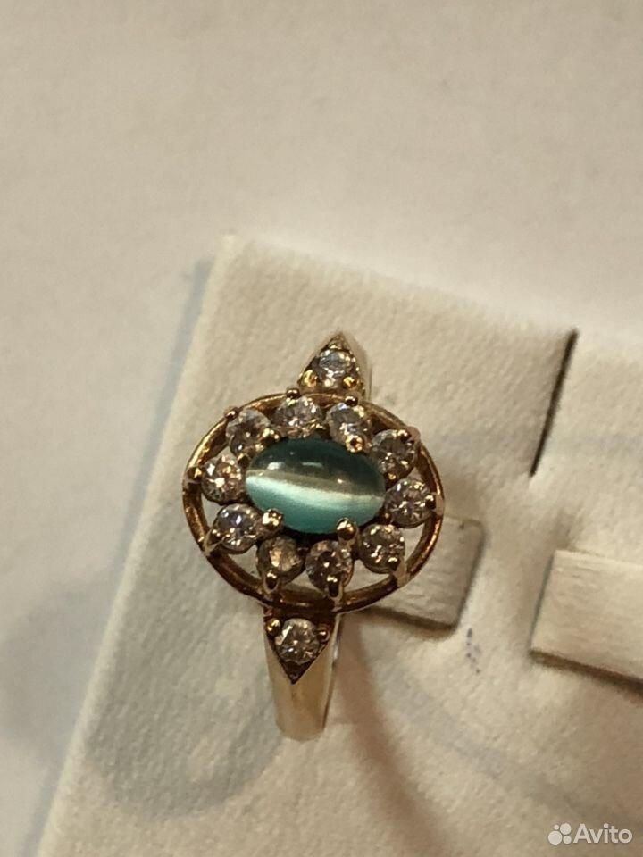 Золотое кольцо 585 с кабашоном и фианитами  89817050993 купить 3