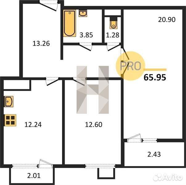2-к квартира, 66 м², 6/8 эт.